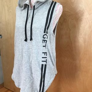 Tops - Sleeveless Workout Sweatshirt with Hoodie